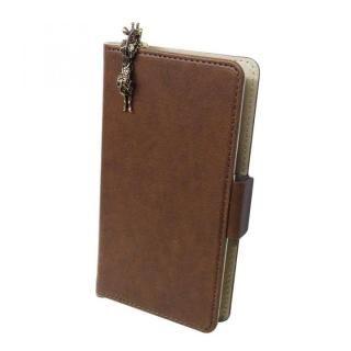 スマホ汎用手帳型ケース キリン/ブラウン
