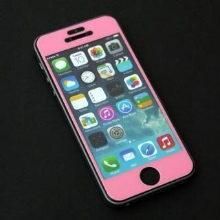 iPhone SE/5s/5 フィルム 東京ガールズコラボ カラーカスタム 液晶保護強化ガラス ピンク/前面 iPhone SE/5s/5c/5