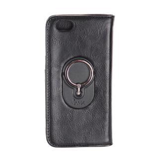 【iPhone6s Plus/6 Plusケース】IAMK 落下防止リング付き手帳型ケース ブラック iPhone 6s Plus/6 Plus