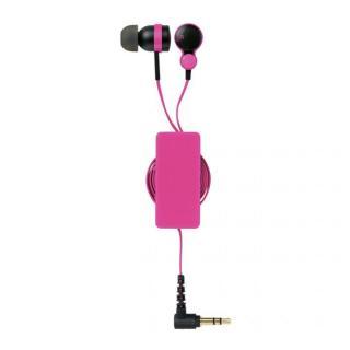 コード巻取リール付き スマートフォン用ステレオヘッドホンマイク ピンク