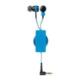 コード巻取リール付き スマートフォン用ステレオヘッドホンマイク ブルー