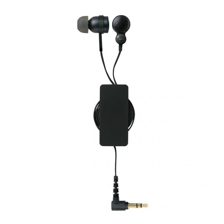 コード巻取リール付き スマートフォン用ステレオヘッドホンマイク ブラック_0