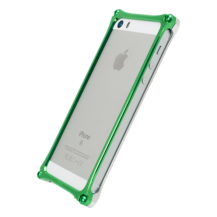 [AppBank Store オリジナル]ソリッドバンパー シルバー×アースグリーン iPhone SE/5s/5