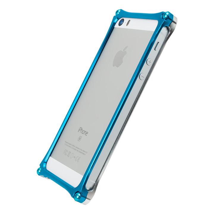 [AppBank Store オリジナル]ソリッドバンパー シルバー×スカイブルー iPhone SE/5s/5