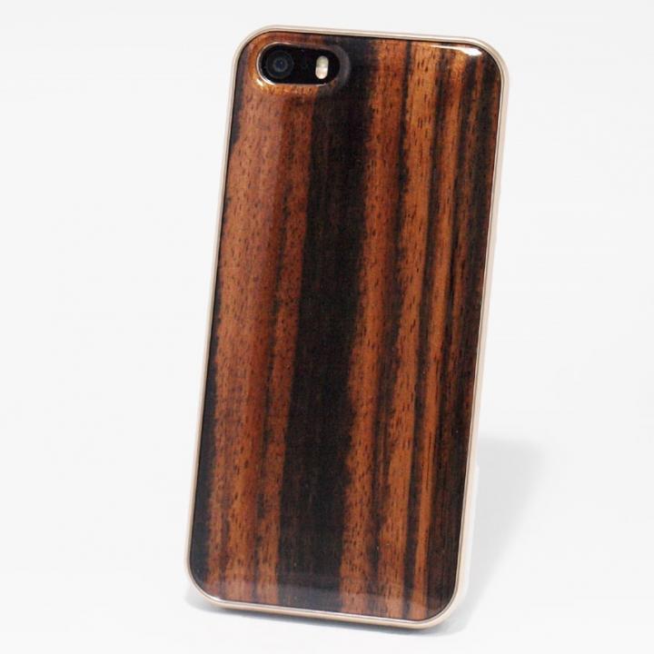 日本製天然木ケース REAL WOODEN ハイグレード アフリカンエボニー iPhone SE/5s/5ケース