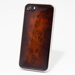 日本製天然木ケース REAL WOODEN サンバーストグレード クス iPhone SE/5s/5ケース