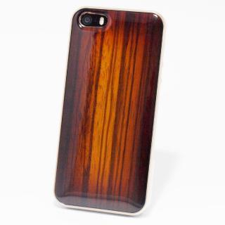 日本製天然木ケース REAL WOODEN サンバーストグレード ゼブラ iPhone SE/5s/5ケース