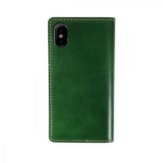 iPhone XS/X ケース LAYBLOCK Tuscany Belly ベジタブルレザー 手帳型ケース グリーン iPhone XS/X