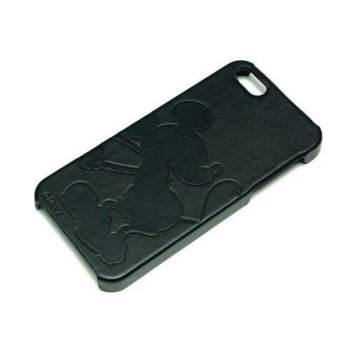 【iPhone SE/5s/5】ディズニー iPhone 5用レザーケース(型押しタイプ)ミッキーシルエット(黒革)_0