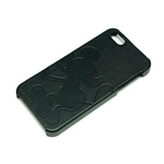 ディズニー iPhone 5用レザーケース(型押しタイプ)ミッキーシルエット(黒革)