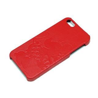 ディズニー iPhone 5用レザーケース(型押しタイプ)ミニーシルエット(赤革)