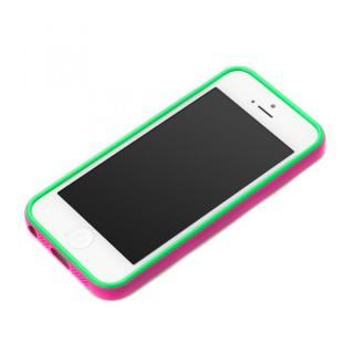 iPhone SE/5s/5用 2トーンカラーバンパー ピンク×グリーン