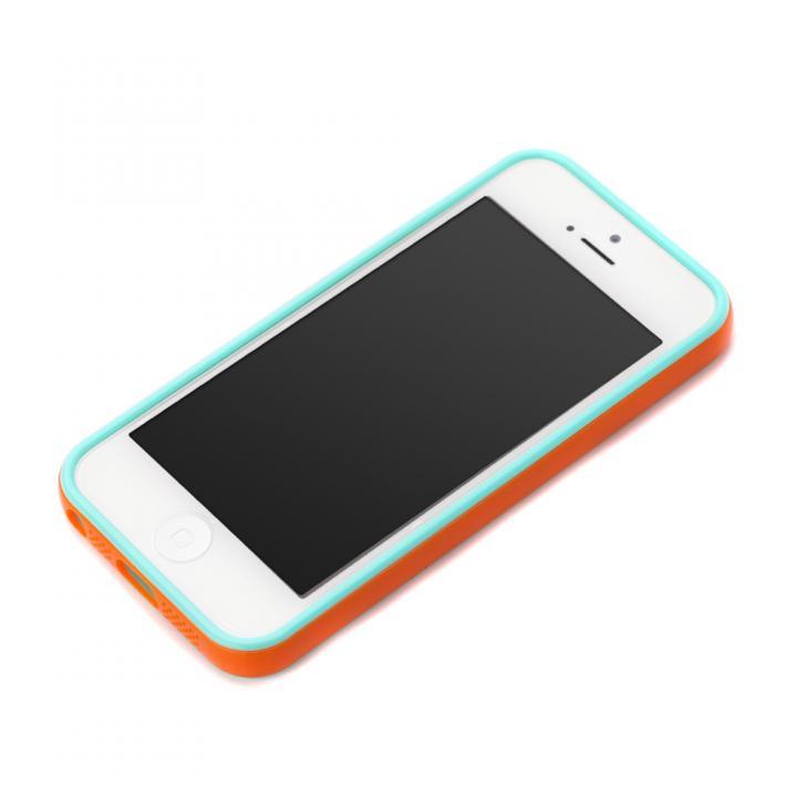 iPhone SE/5s/5 ケース iPhone SE/5s/5用 2トーンカラーバンパー オレンジ×エメラルド_0