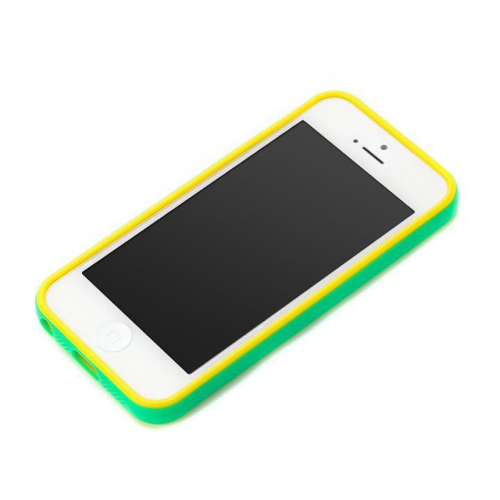 【iPhone SE/5s/5ケース】iPhone SE/5s/5用 2トーンカラーバンパー グリーン×イエロー_0