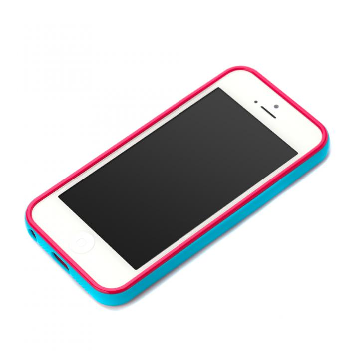 iPhone SE/5s/5 ケース iPhone SE/5s/5用 2トーンカラーバンパー シアン×ピンク_0