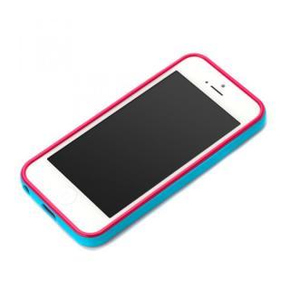 iPhone SE/5s/5用 2トーンカラーバンパー シアン×ピンク