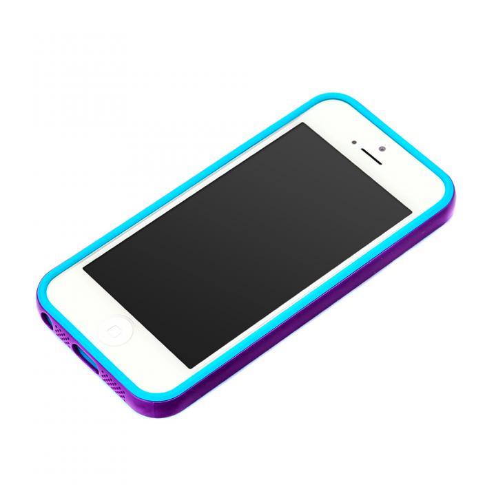 iPhone SE/5s/5 ケース iPhone SE/5s/5用 2トーンカラーバンパー パープル×シアン_0