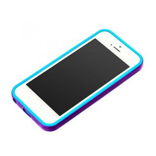 iPhone SE/5s/5用 2トーンカラーバンパー パープル×シアン
