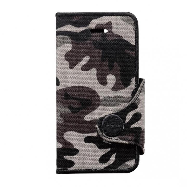 カモフラージュ柄カバー ブラック iPhone SE/5s/5/5c 手帳型ケース
