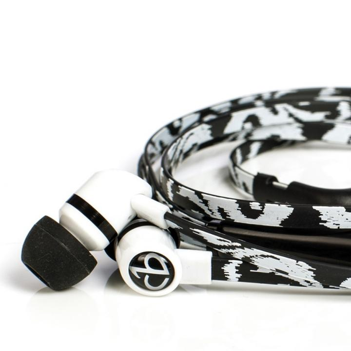 Black Ikat Earbuds With Mic_0