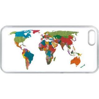 【iPhone SE/5s/5ケース】ICカードケース 西順一郎 日本地図 iPhone SE/5s/5 ケース ホワイト