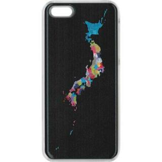 【iPhone SE/5s/5ケース】ICカードケース 西順一郎 日本地図 iPhone SE/5s/5 ケース ブラック