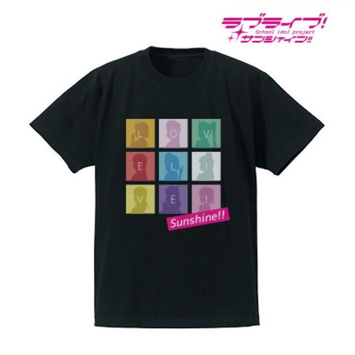 ラブライブ!サンシャイン!! シルエットモノグラムTシャツ メンズ  ブラック/XLサイズ