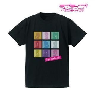 ラブライブ!サンシャイン!! シルエットモノグラムTシャツ メンズ  ブラック/Lサイズ
