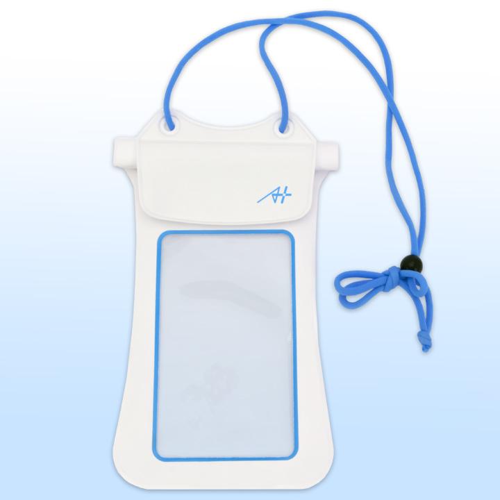 【iPhone7/7 Plus】A+ 防水ポーチ ホワイト×ブルー_0