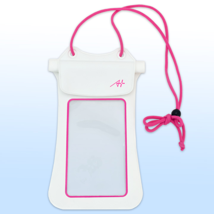 [4周年特価]A+ 防水ポーチ ホワイト×ピンク