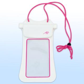 A+ 防水ポーチ ホワイト×ピンク