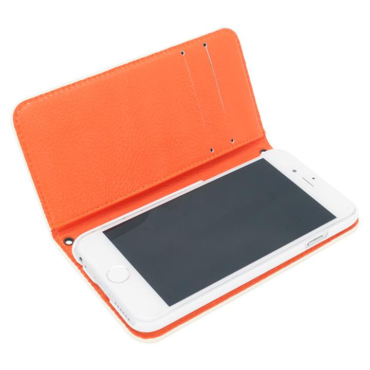 [新iPhone記念特価]A+ 手帳型ケース ホワイト×オレンジ iPhone 6s/6
