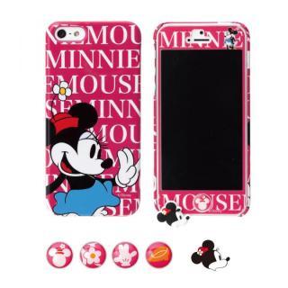 ディズニー ホームボタン&イヤホンキャップ付 iPhone 5用 スターティング5点セット ミニーマウス