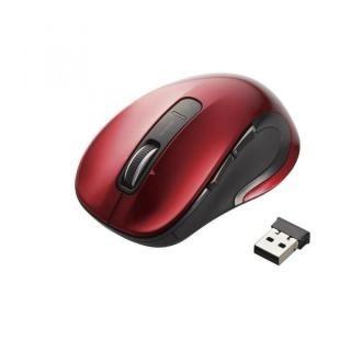 ワイヤレスレーザーマウス 5ボタン・チルトホイール M-LS15DL レッド【7月下旬】
