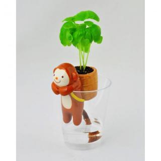デスクで楽しめる 栽培セット しっぽん サル (バジル)