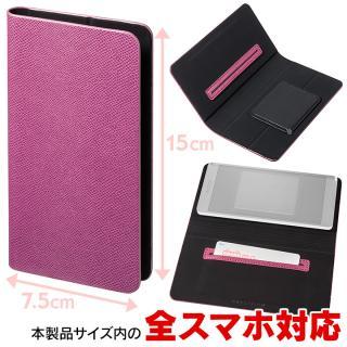 多くのスマートフォン機種対応 PUレザー手帳型ケース EveryCa ピンク