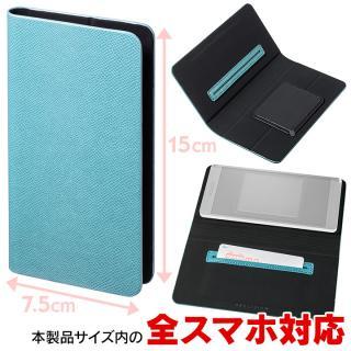 多くのスマートフォン機種対応 PUレザー手帳型ケース EveryCa ミントブルー