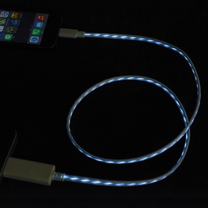 [80cm]光るLightning ケーブル MFI取得 Eureka Luminous ブルー