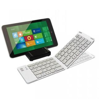 マルチOS対応 折りたたみ式Bluetoothキーボード + スタンド兼用カバーケース ホワイト