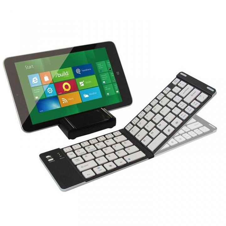 マルチOS対応 折りたたみ式Bluetoothキーボード + スタンド兼用カバーケース ブラック_0