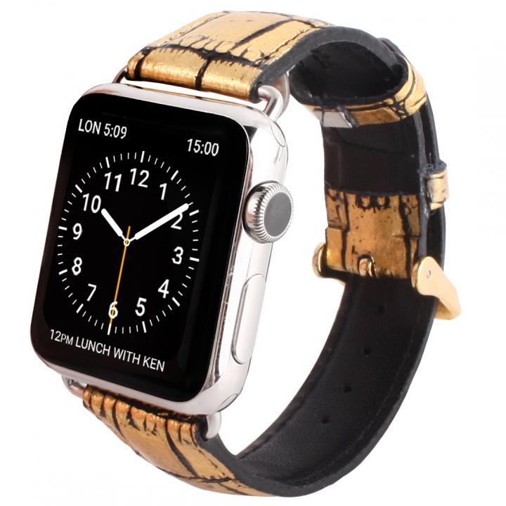 GAZE 42mm Apple Watch用天然牛革バンド ゴールドクロコ_0