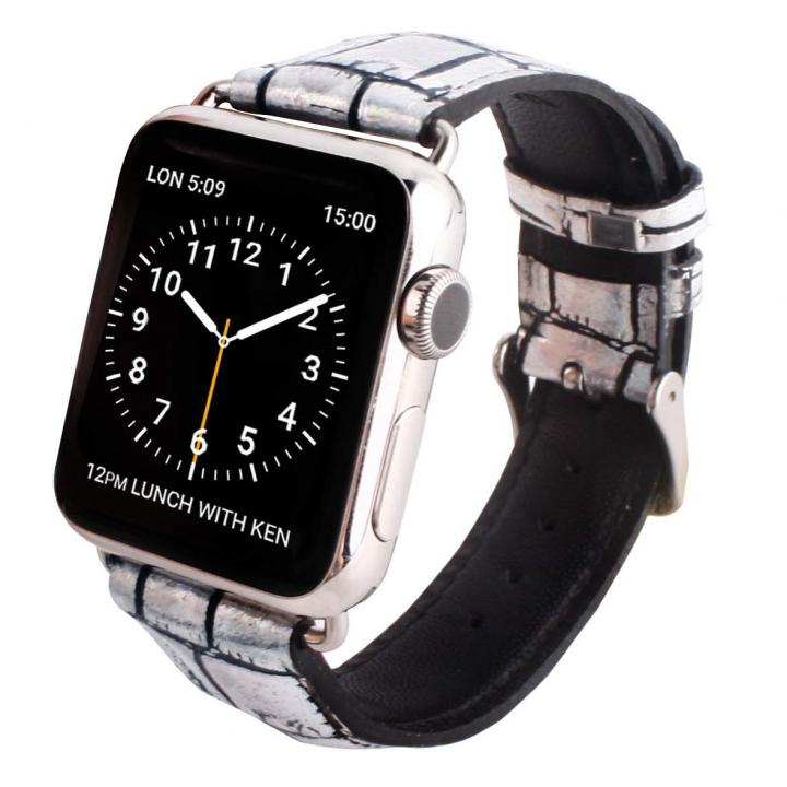 GAZE 42mm Apple Watch用天然牛革バンド ホログラムクロコ【6月上旬】
