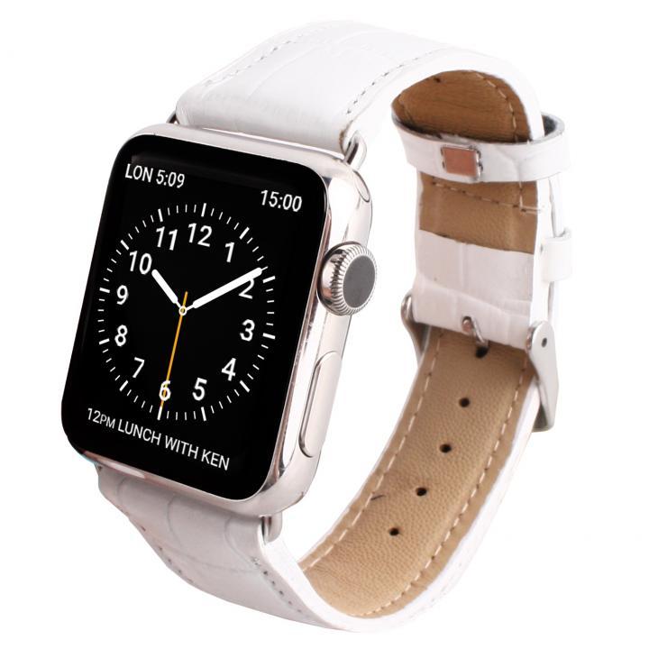 GAZE 42mm Apple Watch用天然牛革バンド ホワイトクロコ_0