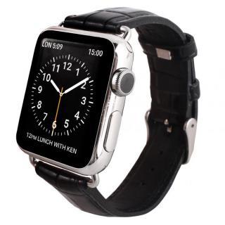 GAZE 38mm Apple Watch用天然牛革バンド ブラッククロコ
