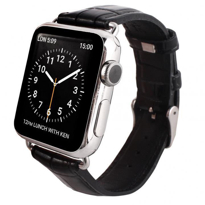 GAZE 42mm Apple Watch用天然牛革バンド ブラッククロコ_0