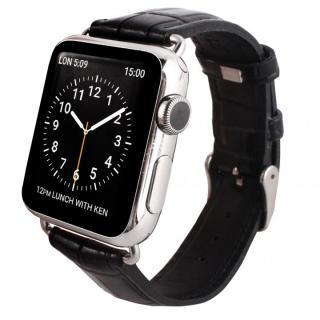GAZE 42mm Apple Watch用天然牛革バンド ブラッククロコ【7月下旬】