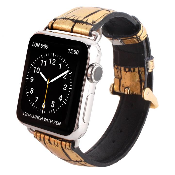 GAZE 38mm Apple Watch用天然牛革バンド ゴールドクロコ_0