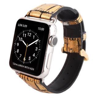 GAZE 38mm Apple Watch用天然牛革バンド ゴールドクロコ