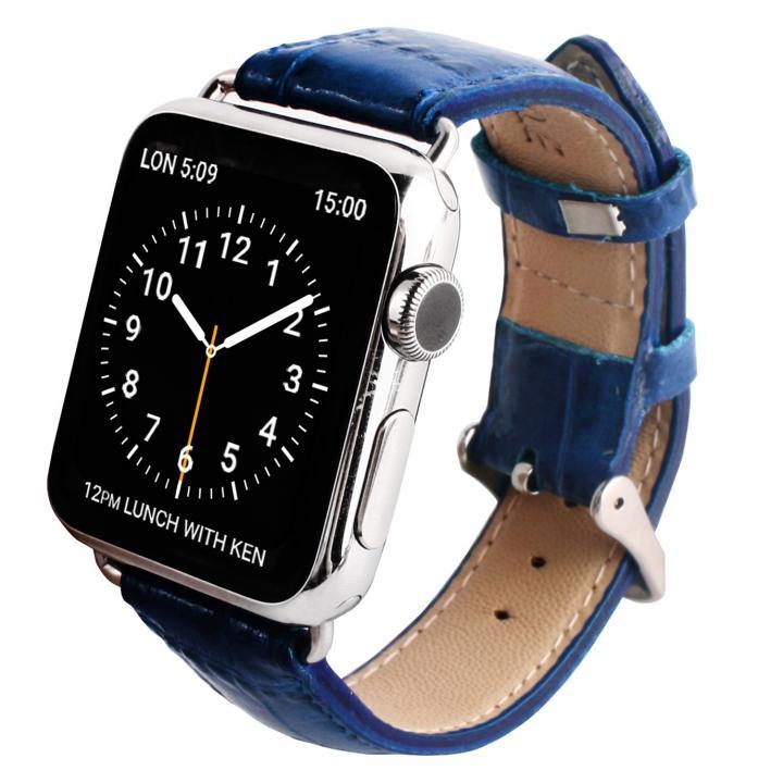GAZE 38mm Apple Watch用天然牛革バンド コバルトブルークロコ_0
