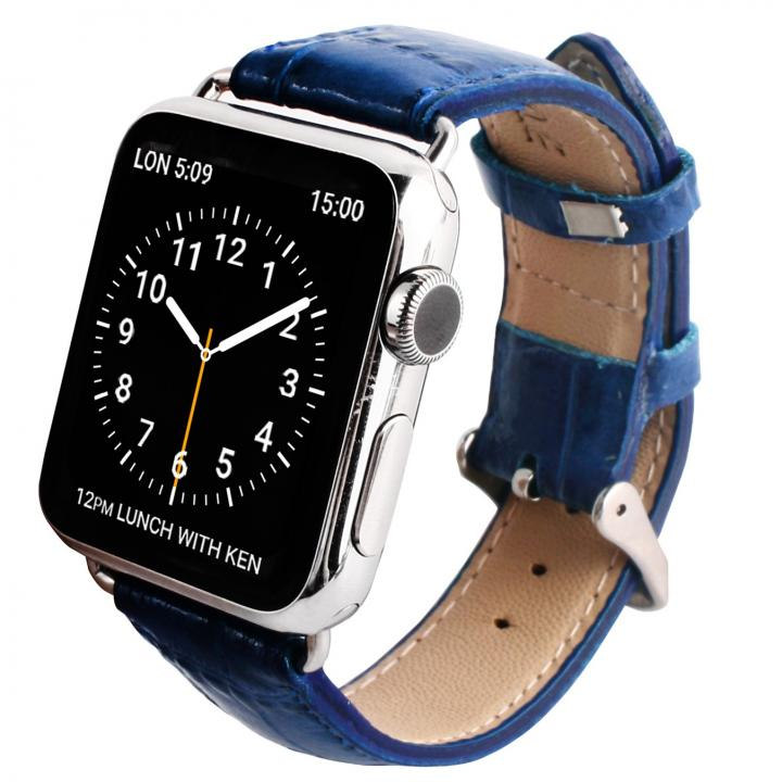 GAZE 42mm Apple Watch用天然牛革バンド コバルトブルークロコ_0